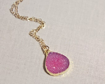 24k Gold Edged Pink Druzy Gold Filled Necklace