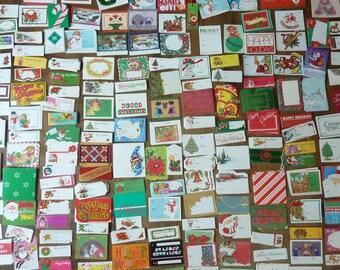 75 Vintage Christmas Tags Tag Lot Ephemera Gift Package Present Craft Supply Lot (#1026)