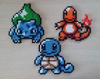 Pokemon Pinball Bulbasaur, Charmander, and Squirtle Perler