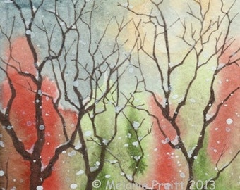 Snow Woods ORIGINAL watercolor SFA winter tree moon painting by Melanie Pruitt ebsq