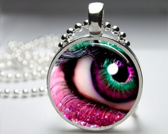 Pink Eye Fantasy Round Pendant Necklace with Silver Ball or Snake Chain Necklace or Key Ring