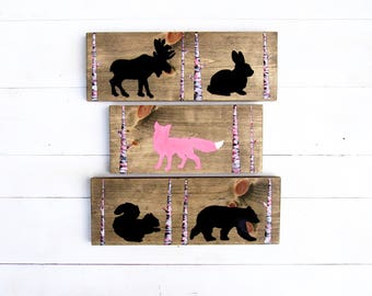 PINK NURSERY Decor - Woodland Animal Decor - Rustic Nursery Art - Woodland Animal Decor - Rustic Nursery Decor - Woodland Nursery Decor