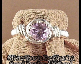 Light Amethyst Ring Sterling Silver Ring Any Size Wire Wrapped Ring 0.7 Carat Solitaire Ring February Birthstone Ring SilverTrove