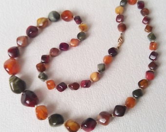 Mothers Day gift Vintage beaded necklace Autumn necklace for women Vintage jewelry Vintage necklace Wife jewelry gift Vintage necklace