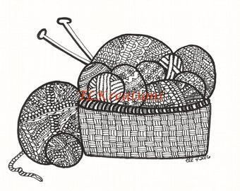 Yarn Basket Zentangle