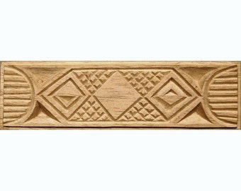 Oshiwa Carved Wood Printing Stamp, African Design, 8.25'' x 2.25'', Item 10-17-78
