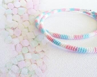 Crochet Tube Large Hoop Earrings Marshmallows