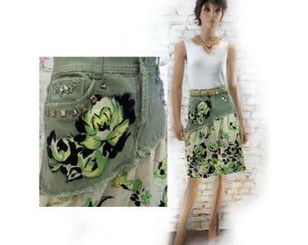 upcycled green skirt -  upcycled denim skirt - denim jean skirt ,green  Boho skirt - alternative skirt - green denim skirt - Size 6  # 2