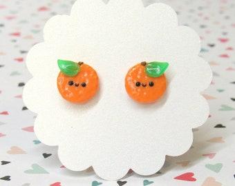 Orange Oranges Earrings, Food Earrings, Kawaii Stud Earrings, Nickel Free, Cute Fruit Earrings, Hypoallergenic Nylon Posts, Sensitive Ears