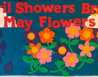 April Showers May Flowers bulletin board door decoration