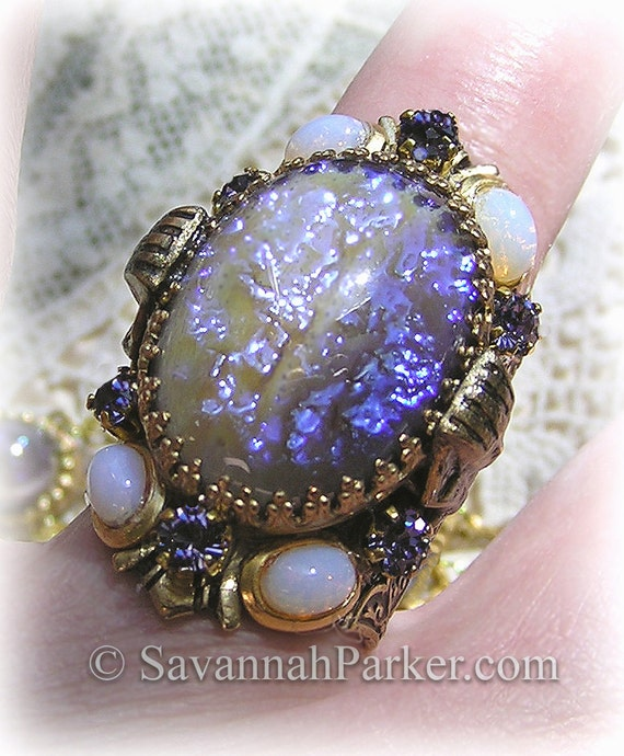 """Antique Style Egyptian Revival Art Deco """"Cleopatra"""" Tanzanite Dragons Breath Ring - Violet Fire Art Glass Stones - Dragon's Breath Jewelry"""