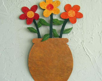 Flower Art Metal Wall Sculpture Red Orange Yellow Whimsical Flowers Recycled Metal Kitchen Indoor Outdoor Wall Decor 13 x 16