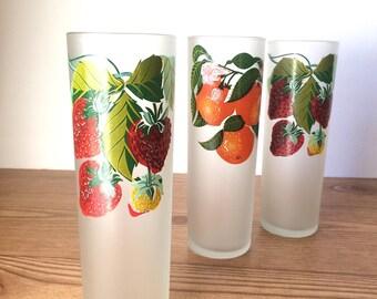 Vintage Frosted Fruit Glasses
