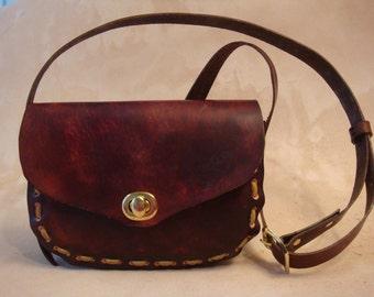 Lyn Handmade Brown Leather Crossbody Bag - Shoulder Purse - Handbag