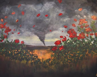 Tornado and Roses Extra Large Original Painting