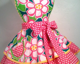 Retro Apron - Bold Hot Pink and Spring Green Floral Diner Pinup Apron, Hostess and Kitchen Apron, Womans Apron, Kawaii