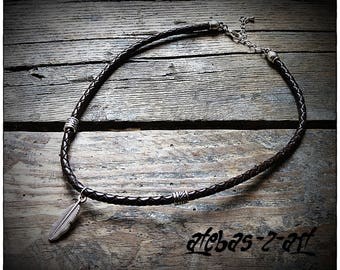 Braided leather necklace - feather