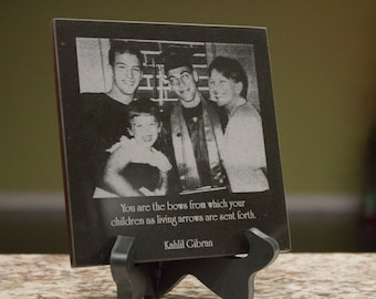 Personalized Black Marble Tile - Laser Photo Engraved