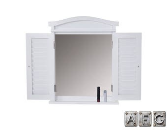 Wall mirror window with shutters white