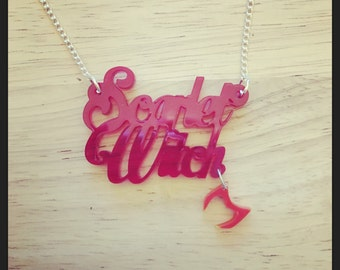 Avengers Inspired Scarlet Witch Acrylic Necklace with Charm