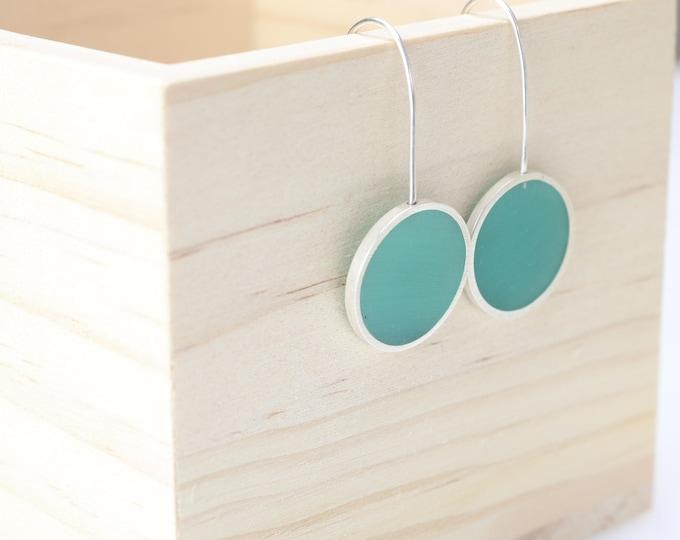 light aqua silver circle resin earrings - sterling silver - art jewelry - minimalist - modern - contemporary - handmade by wildgracejewlery