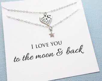 Gifts for Mom | Moon Necklace Jewelry Set, Mother Daugther Gift Set, Gift for Mom, Mommy and Me Mothers Day Gift, Mom Gift | MD06