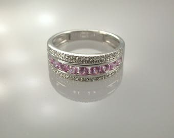 14K White Gold Pink Sapphire & Diamond Ring, Pink Sapphire Ring, September Birthstone Ring, Wedding Band, Pink Sapphire Band, Stacking Ring