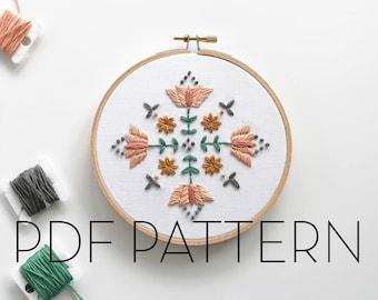 Floral Mandala Embroidery Pattern // PDF Pattern // Digital download// DIY Embroidery