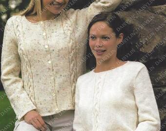 PDF Instant  Digital Download ladies easy knit sweater & cardigan knitting pattern 32/44 inch  (328)