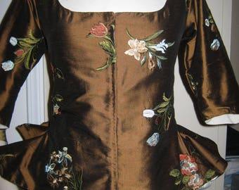 Embroidered Silk Dupioni Caraco size 8