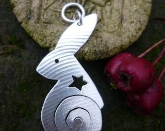 Spiral Hare pendant, silver, squarehare, Free postage, vegan UK, jewellery