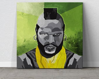 Mr T, A-Team, Pop Art, WPAP Art, Large Wall Art, Affordable Wall Art, Colorful Artwork, Home Decor, Large Canvas Print, 80s, Gift