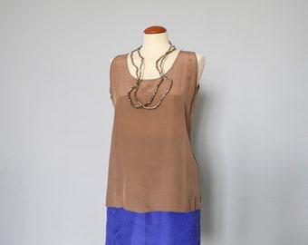 plain silk up blouse shirt-french vintage-silk tank top-women silk top-summer top women-summer silk shirt women-tribal top-primitive top