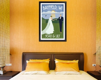 "Custom Vintage 16x24"" Wedding Poster ""Along the Shore"" - Free Shipping"