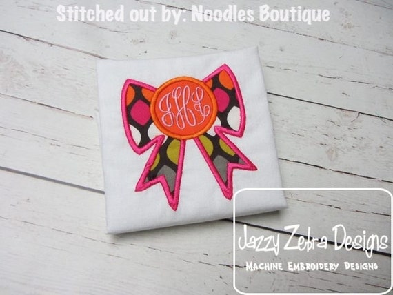 Bow Monogram Frame Applique embroidery Design - bow Applique Design - monogram frame Applique Design - girl Applique Design