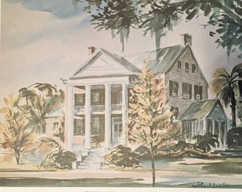 """Lithograph Print by Richard Lewis from his Watercolor """"The Columns"""" Fine Linen Finish Art Stock Lmt. Ed. 60's Print of FL Historic Home"""