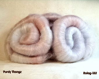 R-133 - Rolag - White with Soft Pink & Blue