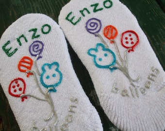 Personalized Painted Socks Toddler Little Boy Size No Slip
