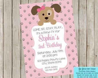Puppy party invitation set - pink