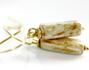 Green Glass Earrings - 'Studdering Translator'