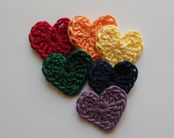 Crocheted Hearts - Colors of the Rainbow - Cotton Hearts - Crocheted Heart Appliques - Crocheted Heart Embellishments
