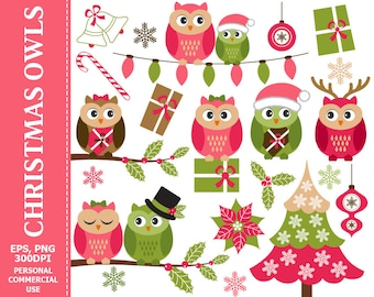 Christmas Owls Clip Art - Owl, Christmas, Xmas, Holly, Christmas Tree, Winter Clip Art