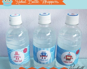 Robot Bottle Wrappers for robot birthday party. Robot Bottle Labels for Robot Party or Robot baby shower. INSTANT DOWNLOAD Robot printables
