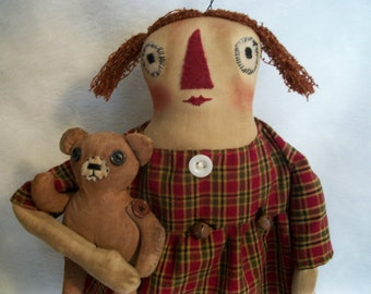Primitive doll PATTERN, Raggedy Annie and bear Pattern,  by Dumplinragamuffin,#99