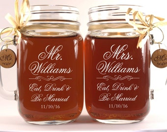 Eat Drink and Be Married Mason Jars Personalized Mugs with Wooden Charms