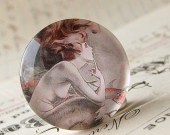 Mermaid cabochon, comic book print, handmade glass oval, 25mm round, one inch circle, vintage drawing, from our Magical Maidens collection