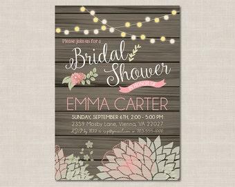 Rustic Chic Bridal Shower Invitation, Pink & Mint, Printable Digital File, DIY