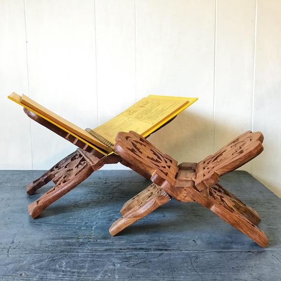 vintage carved teakwood book rack - folding book holder - boho desk decor - book lover gift