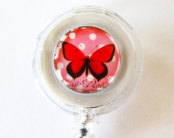 Badge Reel, ID Badge Holder, Retractable id, Badge clip, Name Tag, Butterfly, Red, for the office