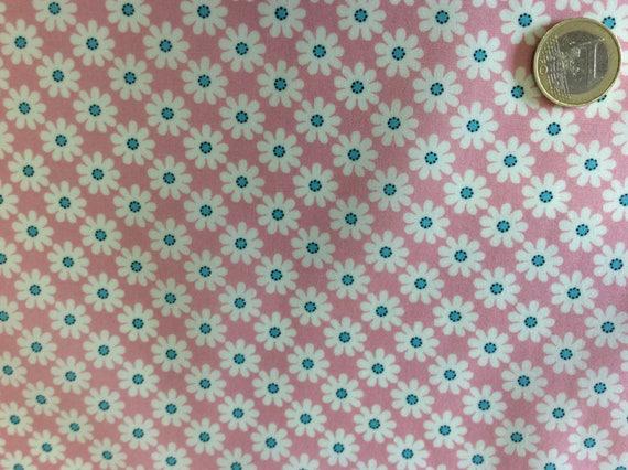 High quality cotton poplin, vintage floral print on pink